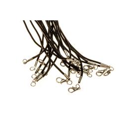 Гайтан нат.кожа с карабином (черный) (уп.10шт.) ОТГРУЗКА ТОЛЬКО УПАКОВКАМИ