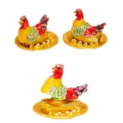 """Пасхальная шкатулка """"Курица и яйца"""" малая, в ассорт.(латунь, стразы)"""