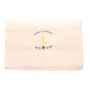 """Полотенце вафельное белое с вышивкой """"Спаси и сохрани"""", 99Х45см (100% хлопок)"""