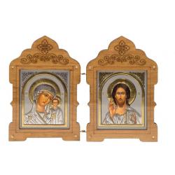 Складень деревянный Спаситель и Казанская,орг.стекло (11*7,5см)
