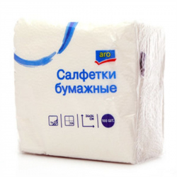 Салфетки бумажные ARO 100шт.24*24см,1слой (уп.1шт.)
