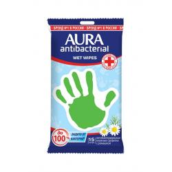 Салфетки влажные антибактериальные AURA,15шт.(уп.1шт.)