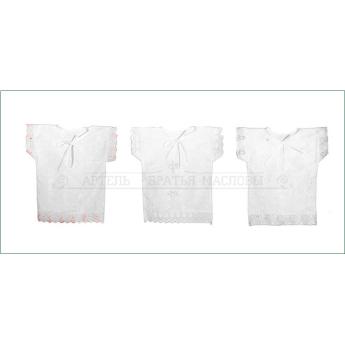 Рубашка крестильная с вышивкой и кружевом, 6м.-1г.(р.74-80, 100% хлопок)(белый,голубой,розовый)
