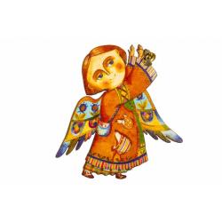 """Сувенир-магнит """"Ангел с колокольчиком"""", фанера (уп.10шт.)"""