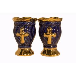 Лампада керам. Крест с золотом, синяя (уп.4 шт.)