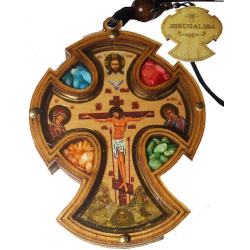 """Крест подвесной в авто """"Иерусалим"""" с ладаном (уп.6шт.)"""