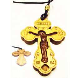Крест в авто подвесной (фанера, с распятием из меди) 8см*5,6см (уп.30шт.)