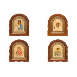 Икона в багете Спаситель и Казанская арочная малая со стразами (10*12см)