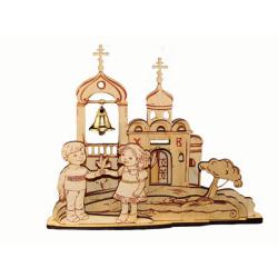 Пасхальная обьемная самоделка-раскраска (с храмом), дерево (уп.10шт.)