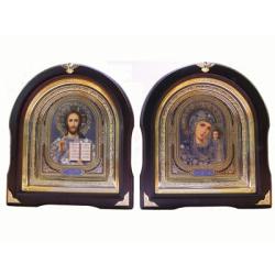 Икона в багете арочная Спаситель и Казанская (27*25см)