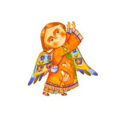 """Сувенир-магнит с колокольчиком """"Ангел"""", фанера (уп.10шт.)"""