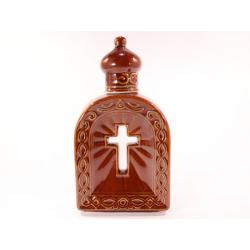 Штоф для Святой воды с крестом вырезом (корич.) (уп.1шт.)